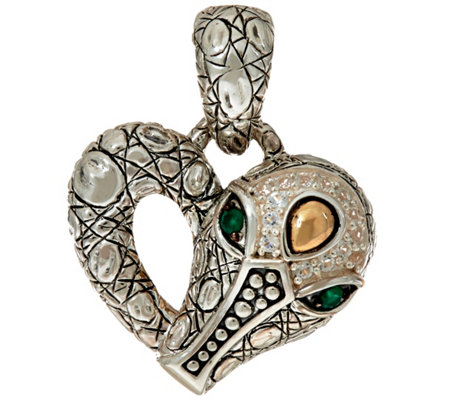 JAI Sterling Silver & 14K Accent Croco Heart Enhancer