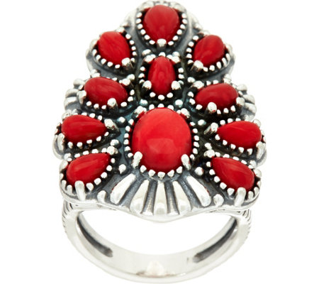 American West Sterling Silver Red Coral Tapered Cluster Ring