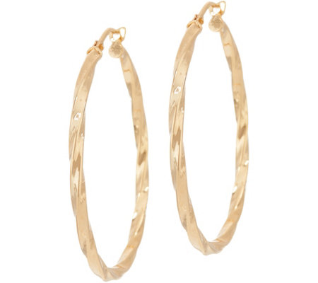 "Bronze 1-1/2"" Twisted Round Hoop Earrings by Bronzo Italia"