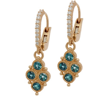 Judith Ripka 14K Gold London Blue Topaz & Diamond Earrings