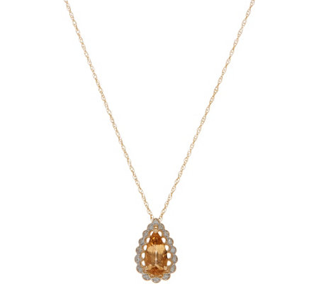 "Pear Shaped Imperial Topaz & Diamond Pendant on 18"" Chain, 14K Gold"