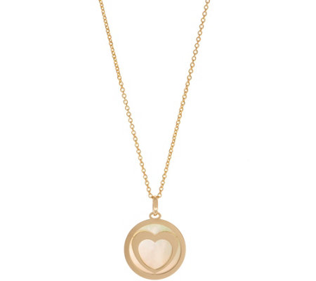 Italian Gold Mother-of-Pearl Heart Pendant, 14K Gold 1.3g