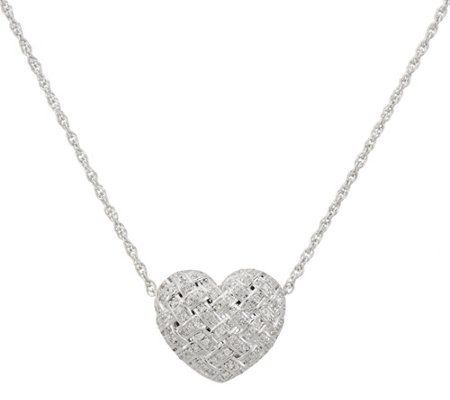 Affinity Diamond Heart Slide on Chain, Sterling, Boxed