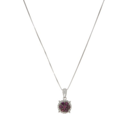 Purple Diamond Cluster Pendant w/ Chain, 4/10 cctw, Sterling by Affinity