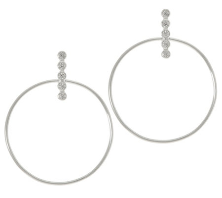 Sterling Silver Circle Crystal Earrings by Silver Style