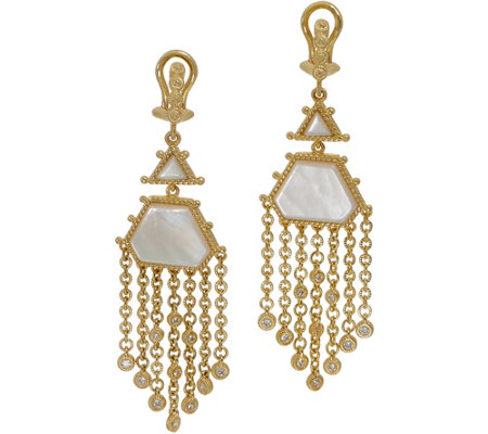Judith Ripka 14K Clad Mother of Pearl Drop Earrings