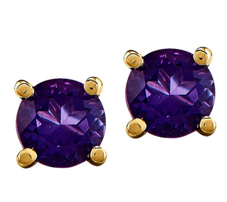14K Semi-Precious Round Gemstone St ud Earrings