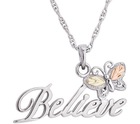 Black Hills Believe Pendant W Chain Sterling 12k Gold