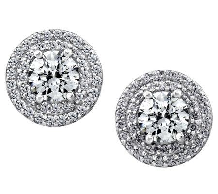 Diamonique 2.60 cttw Round Halo Earrings, Platinum Clad