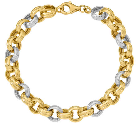 14K Two-tone Ribbed Rolo Link Bracelet, 14.1g