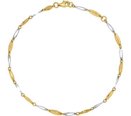 14K Two-Tone Oblong Beaded Anklet, 2.8g