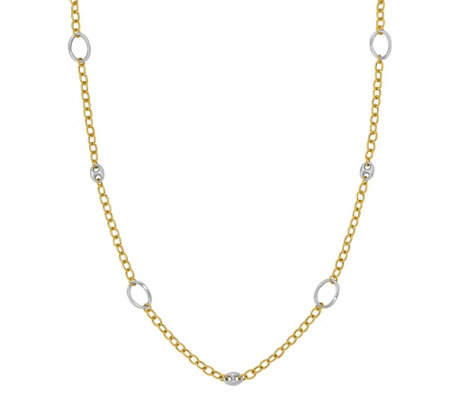 Italian Gold Two-Tone Anchor Link Station Necklace 14K, 10.5g