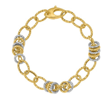 Italian Gold Two-tone Diamond-cut Link Bracelet14K Gold, 7.3g