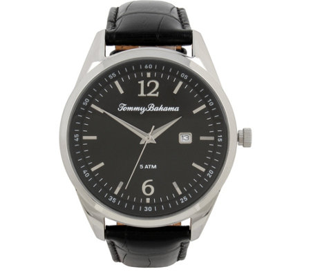 Tommy Bahama Siesta Key Leather Strap Watch, Black