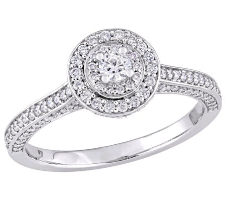 Affinity 14K Gold 5/8 cttw Round Diamond Halo Ring