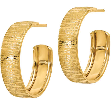 Italian Gold Round Textured Hoop Earrings, 14K