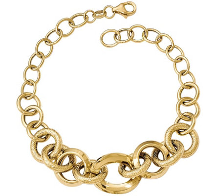 Italian Gold Bold Textured Cable Link Bracelet14K, 7.45g