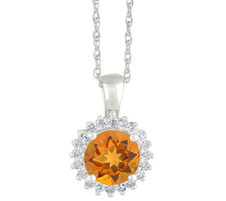 14K White Gold Round Gemstone Halo Pendant w/ Chain