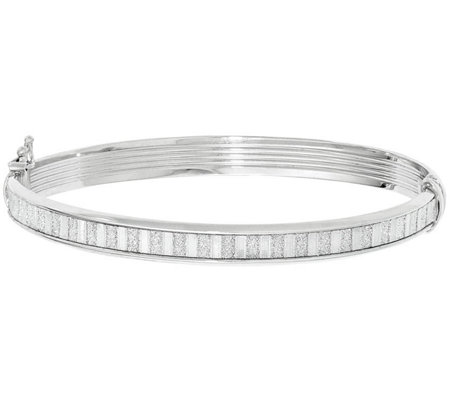 Italian Silver Glimmer Strip Hinged Bangle, 7.8g