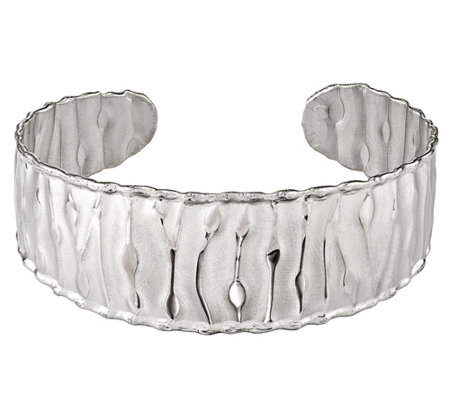 Italian Sterling Silver Textured Cuff, 15.3g