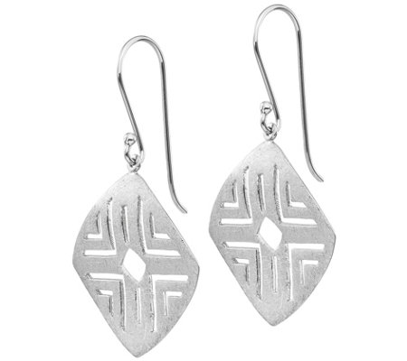 Sterling Silver Brushed Square Dangle Earrings