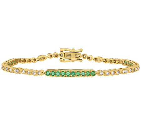 Bellini 0.90 cttw Emerald & 7/10 cttw Diamond Station Bracelet