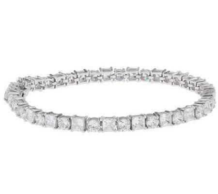 Epiphany Platinum Clad Diamonique Princess Round Tennis Bracelet