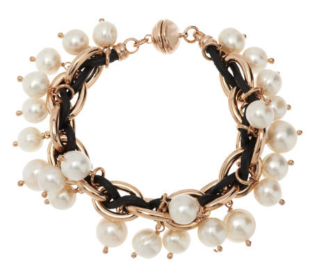 Honora Ringed Cultured Pearl and Leather Charm Bracelet