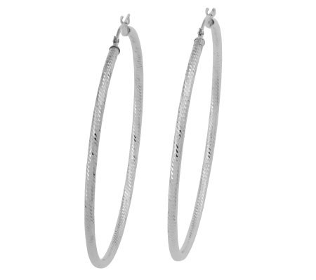 Ultra Thin Round Diamond Cut Hoop Earrings 14kwhite Gold