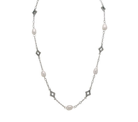 Suspicion Sterling Marcasite Cultured Pearl Station Necklace