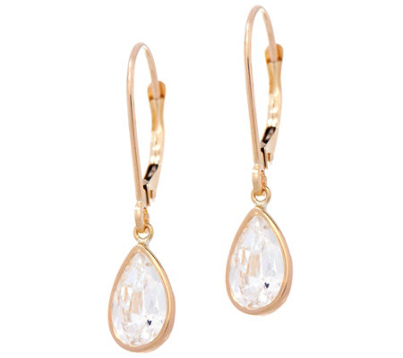 """As Is"" Diamonique 3.00 cttw Pear Leverback Earrings, 14K"