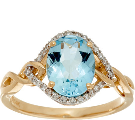 Santa Maria Aquamarine & Pave' Diamond Ring, 14K Gold 1.30 ct