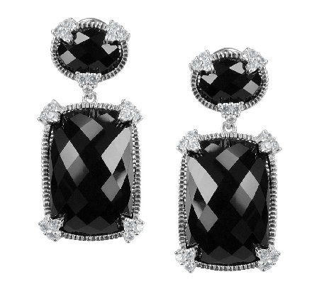 Judith Ripka Sterling Black Onyx & Diamonique Drop Earrings