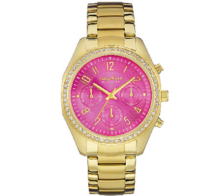 Caravelle New York Women's Crystal-Accented Pink Dial Watch