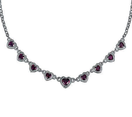 Judith Ripka Sterling 7.30cttw Garnet Heart Necklace