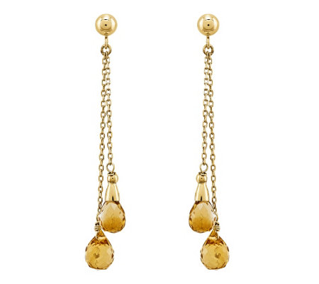 14K Gold Briolette Gemstone Dangle Earrings