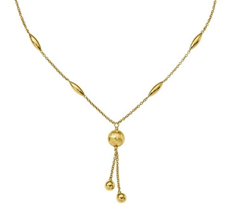 "14K Beaded Lariat 17"" Necklace, 7.2g"