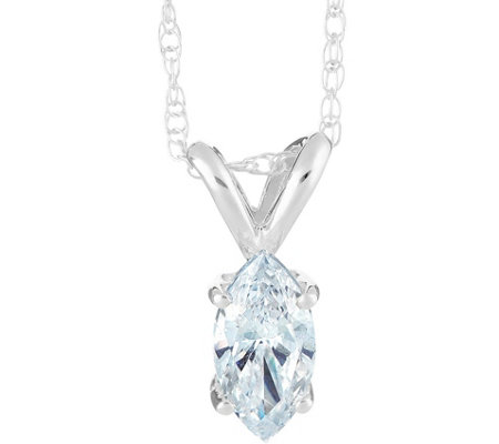 Marquise Diamond Pendant, 14K White Gold, 1/10ct, by Affinity