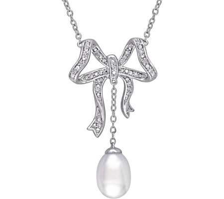 Laura Ashley Cultured Pearl & Diamond Bow Necklace