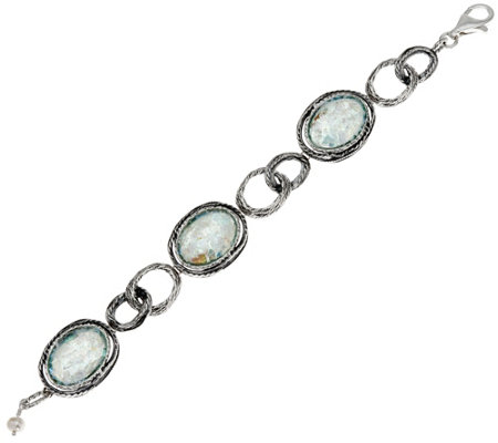 Or Paz Sterling Silver Roman Glass Station Bracelet