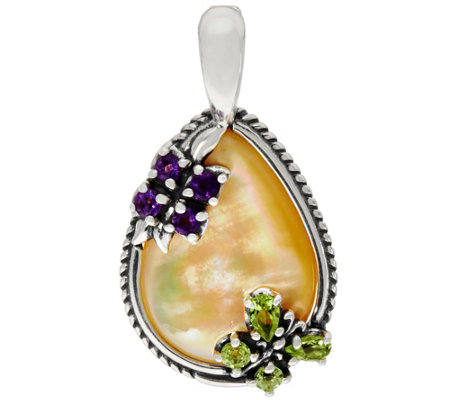 Carolyn Pollack Sterling Golden Mother of Pearl Butterfly Enhancer