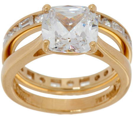 Diamonique Cushion Bridal Ring Set, 14K Gold Clad