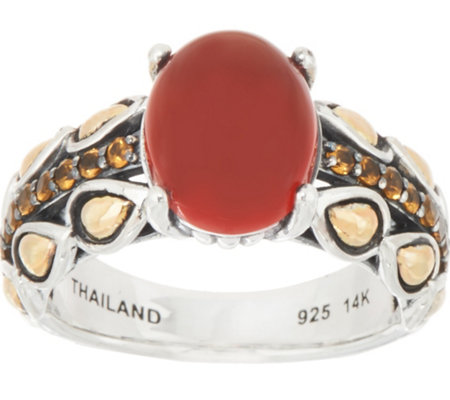 JAI Sterling & 14K Cabochon & Pave Lotus Band Ring