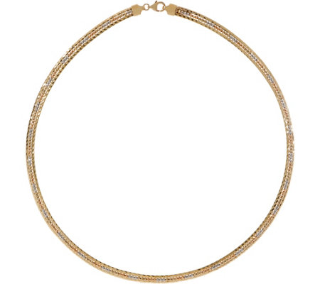 "Italian Gold 18"" Tri-Color Omega Necklace 14K Gold, 17.0g"