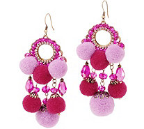 St. Lucia Drop Earrings with Dangle Pom Poms - J354875