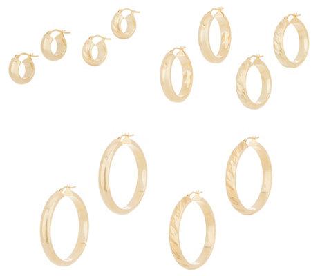 Italian Gold Polished Or Satin Twist Hoop Earrings 14k