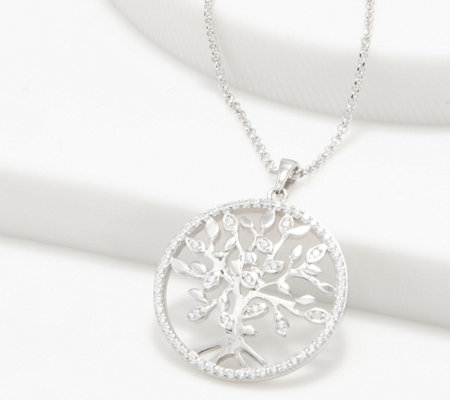 "Diamonique Tree of Life Pendant with 18"" Chain, Sterling Silver"