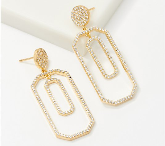Diamonique Geometric Pave Dangle Earrings, Sterling Silver