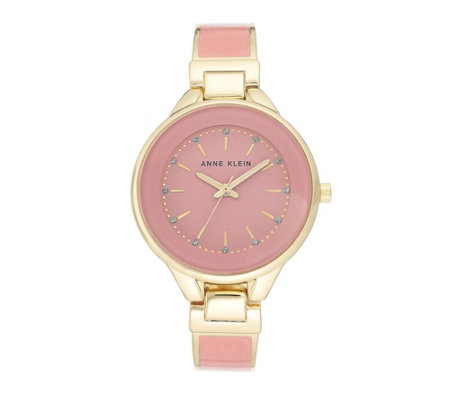 Anne Klein Women's Goldtone Pink Glitter Watch
