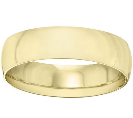 Men's 18K Yellow Gold 6mm Half-Round Wedding Band